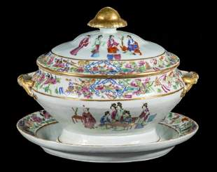 CHINESE EXPORT SOUP TUREEN AND STAND