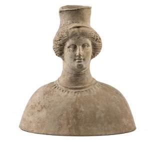 ANCIENT ETRUSCAN TERRA COTTA FUNERARY PORTRAIT