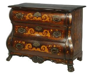 DUTCH MARQUETRY BOMBE FRONT CHEST