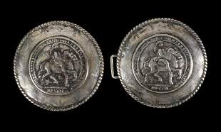 SPANISH COLONIAL SILVER BELT BUCKLE WITH KING CHARLES