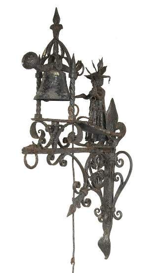 ORNATE EUROPEAN WROUGHT IRON DOORBELL WITH OIL LAMP