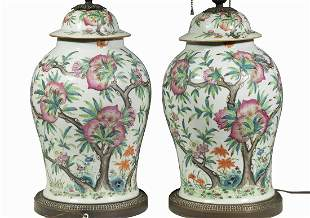 PR CHINESE PORCELAIN JARS WIRED AS LAMPS
