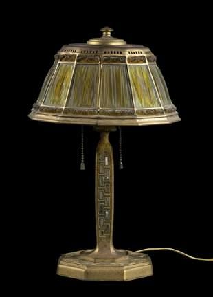"TIFFANY STUDIOS ""ABALONE LINENFOLD"" LAMP"