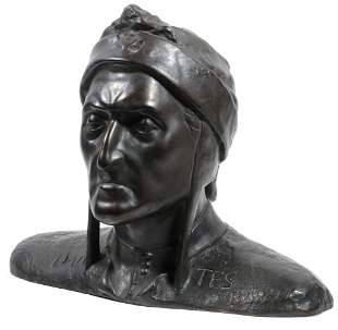 GRAND TOUR LIFE-SIZED BRONZE BUST OF DANTE AFTER ADOLFO