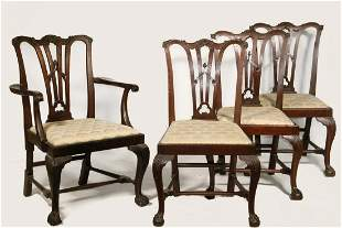 (8) MAHOGANY CHIPPENDALE CHAIRS