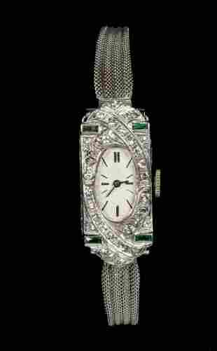 LADIES ART DECO PLATINUM DIAMOND & EMERALD WRISTWATCH