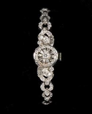 LADIES 14 K WHITE GOLD & DIAMOND SET HAMILTON