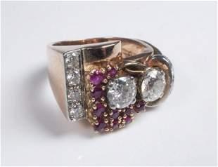 LADIES VINTAGE RETRO ERA DIAMOND AND RUBY RING