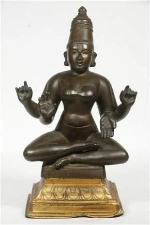 19TH C. INDIAN HINDU BRONZE DEITY