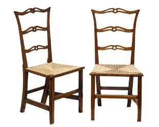 PR OF AMERICAN COLONIAL RUSH SEAT CHAIRS