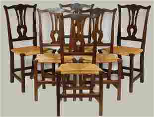 (SET OF 6) MAHOGANY COUNTRY CHIPPENDALE SIDE CHAIRS