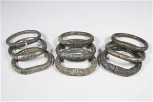 (9) ANCIENT CHINESE SILVER BRACELETS