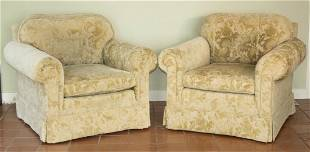PR OF GREEN UPHOLSTERED ARMCHAIRS