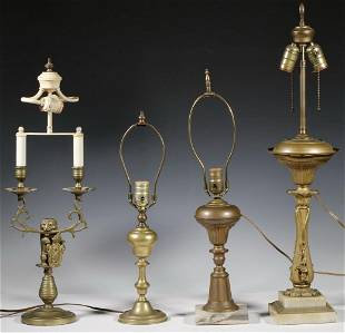 COLLECTION OF (4) VINTAGE BRASS TABLE LAMPS