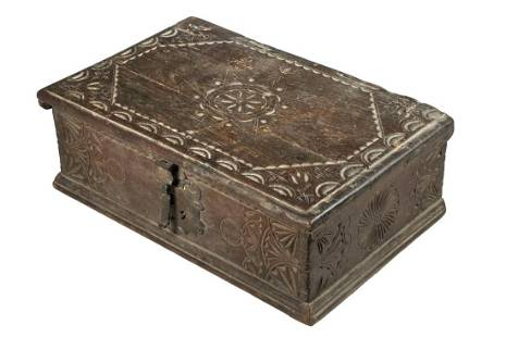 EARLY CHIP CARVED BIBLE BOX
