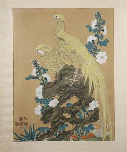 19TH C. CHINESE PAINTING OF BIRDS AND FLOWERS
