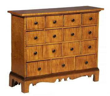 TIGER MAPLE APOTHECARY CHEST