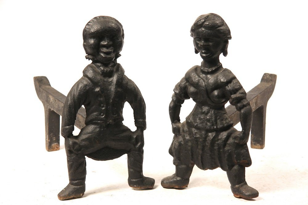 RARE FIGURAL ANDIRONS - Rare Pair of 19th c. Cast Iron
