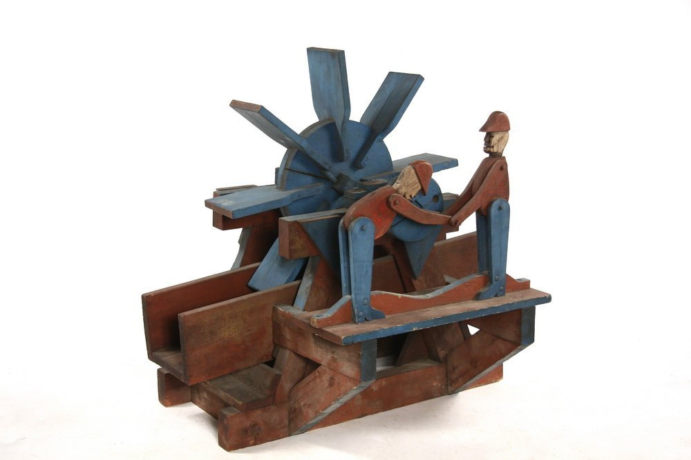 FOLK ART WATER WHEEL - Water wheel whirligig with two
