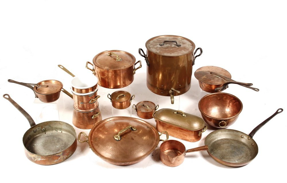 (13 PCS) ANTIQUE FRENCH COPPER COOKWARE - Including: 2
