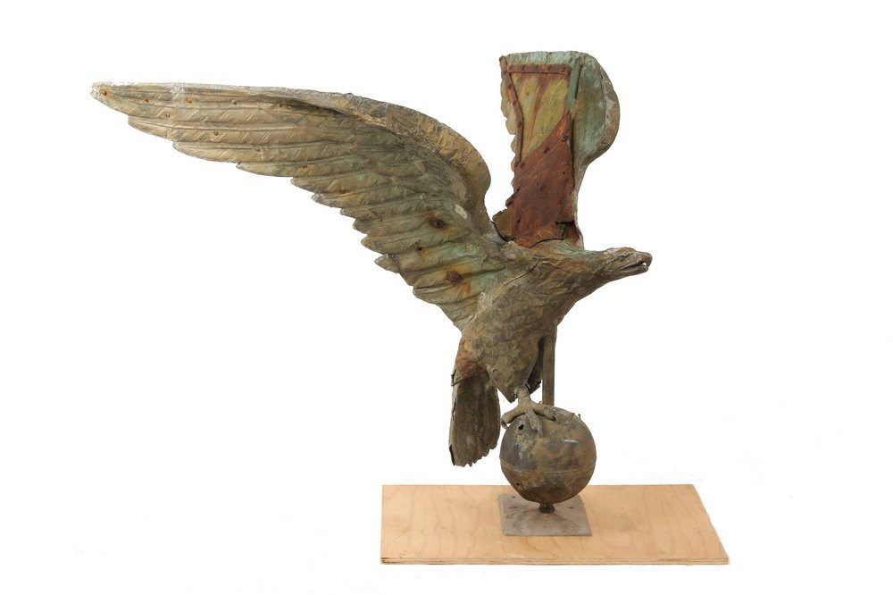 LARGE EAGLE WEATHERVANE - 19th c.Painted & Gilded