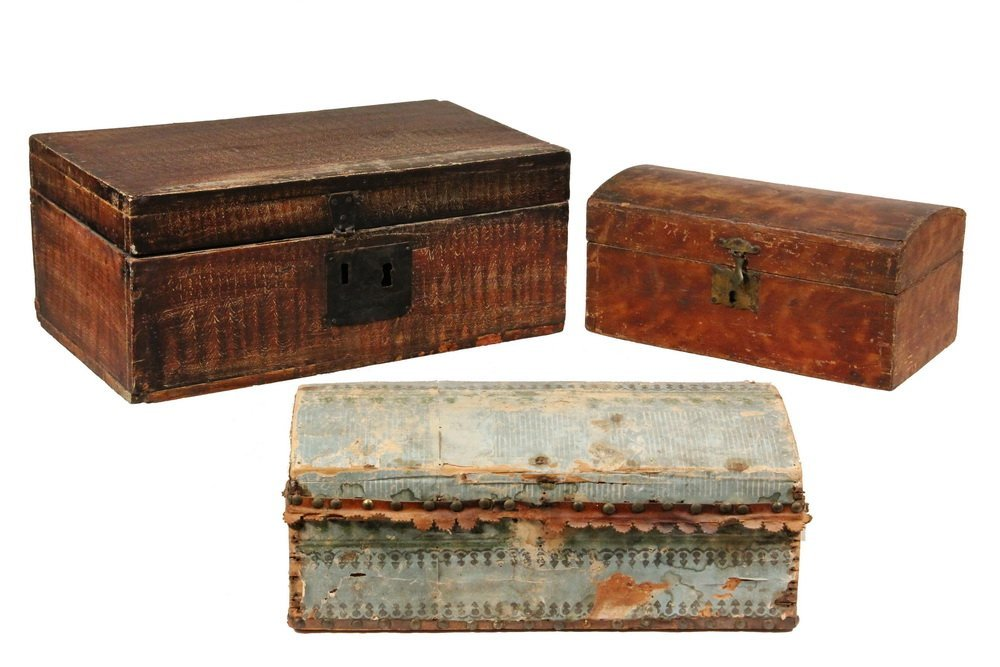 (3) EARLY BOXES - 19th c. or earlier New England