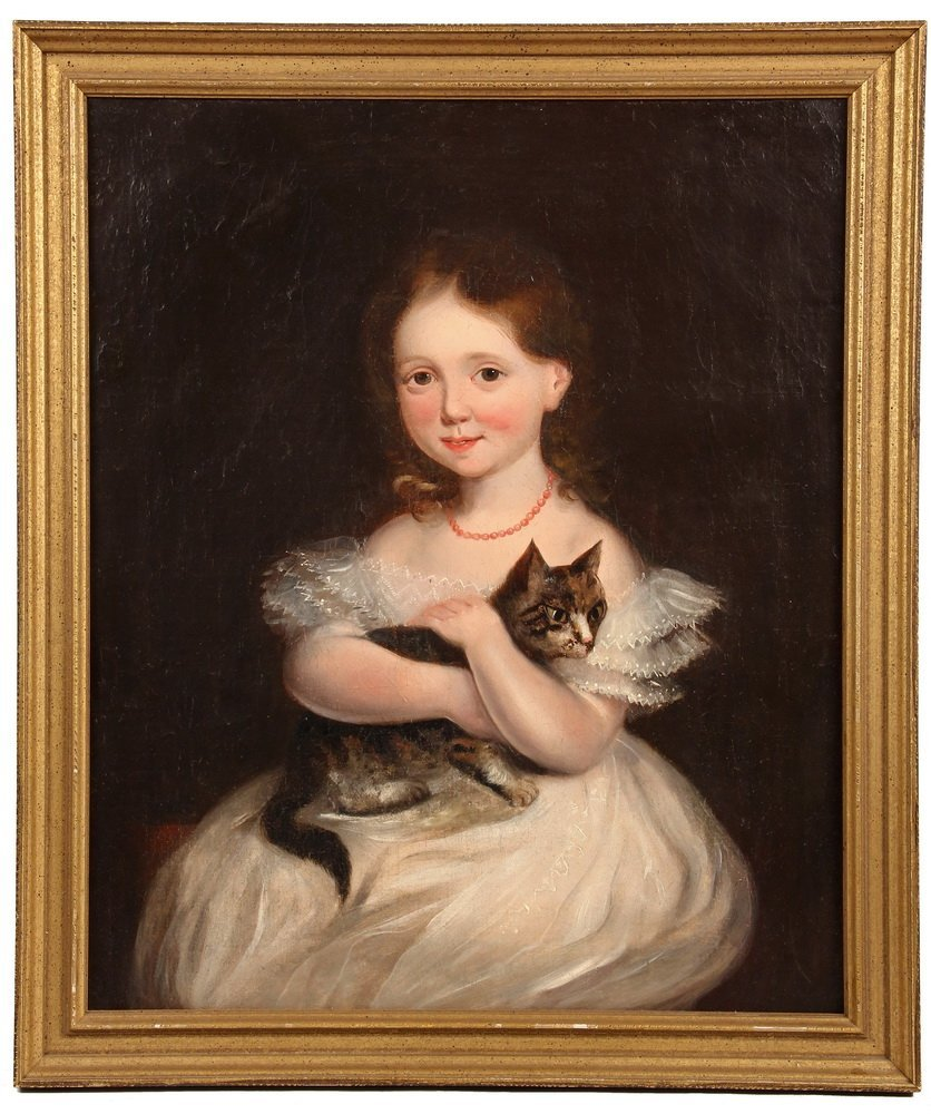OIL ON CANVAS - American 1850s Portrait of Little Girl