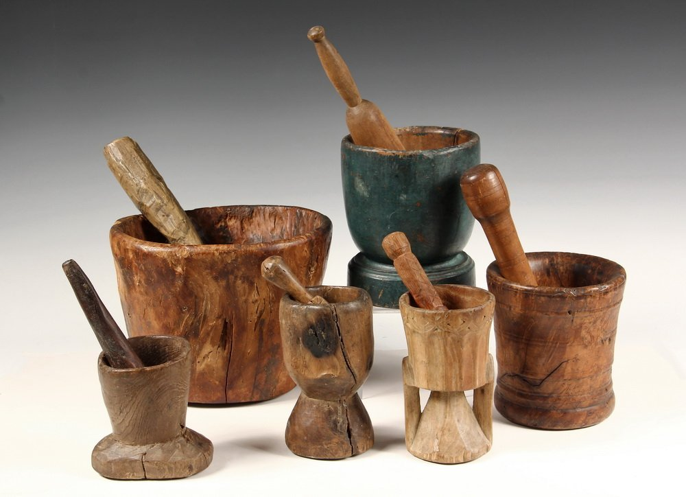(6) MORTAR & PESTLE SETS - New England Primitive Carved