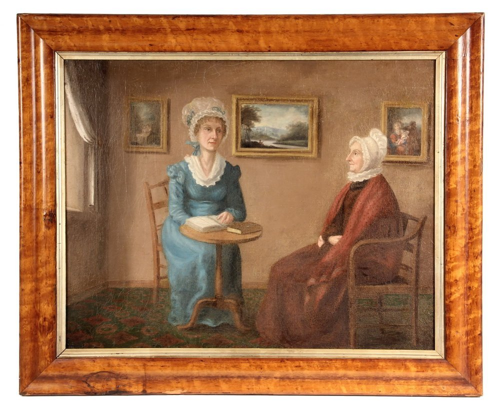 OIL ON CANVAS - American Primitive Portrait of Two