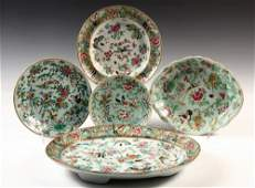 5 PCS CHINESE EXPORT PORCELAIN  19th c Famille Rose