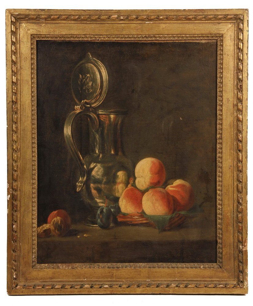 OIL ON CANVAS - Still Life with Pewter Jug & Peaches,