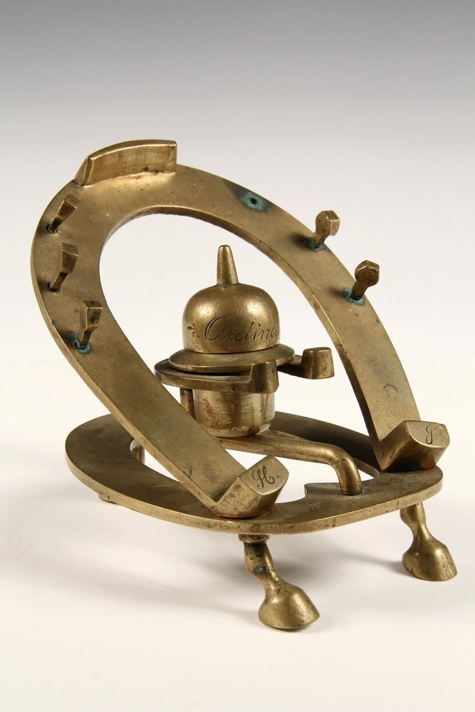 BRASS EQUESTRIAN INKWELL - Commemorative Race Horse