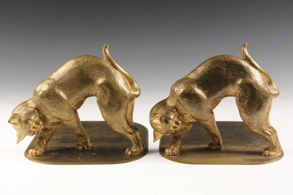 TIFFANY BOOKENDS - Gilt Bronze Bookends of Stalking