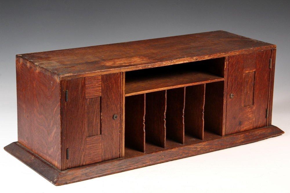 RARE DESK PIGEONHOLES - Arts & Crafts Desktop Cabinet
