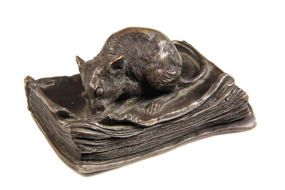 SILVERED BRONZE PAPERWEIGHT - French Table Sculpture in