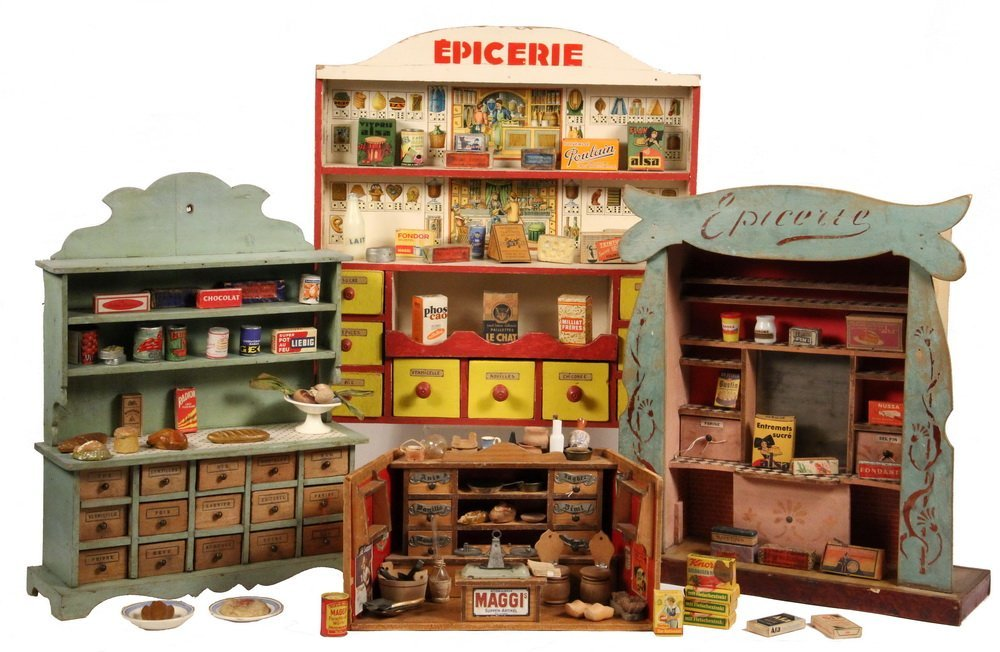 (3) FRENCH & (1) GERMAN TOY GROCERY STORES - 1920s-30s