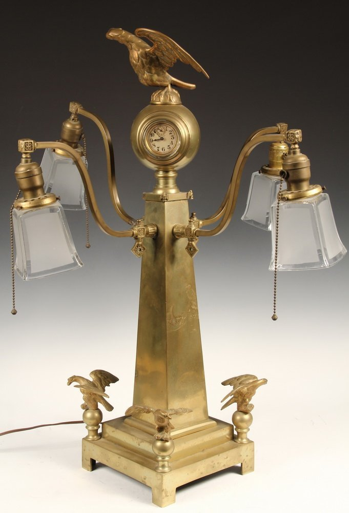 BANK CLOCK - Solid Brass Stanchion Clock with four