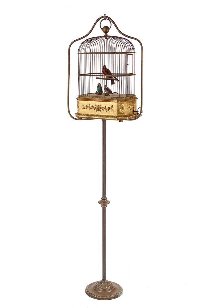 RARE SONGBIRD AUTOMATON - French Mechanical of Three