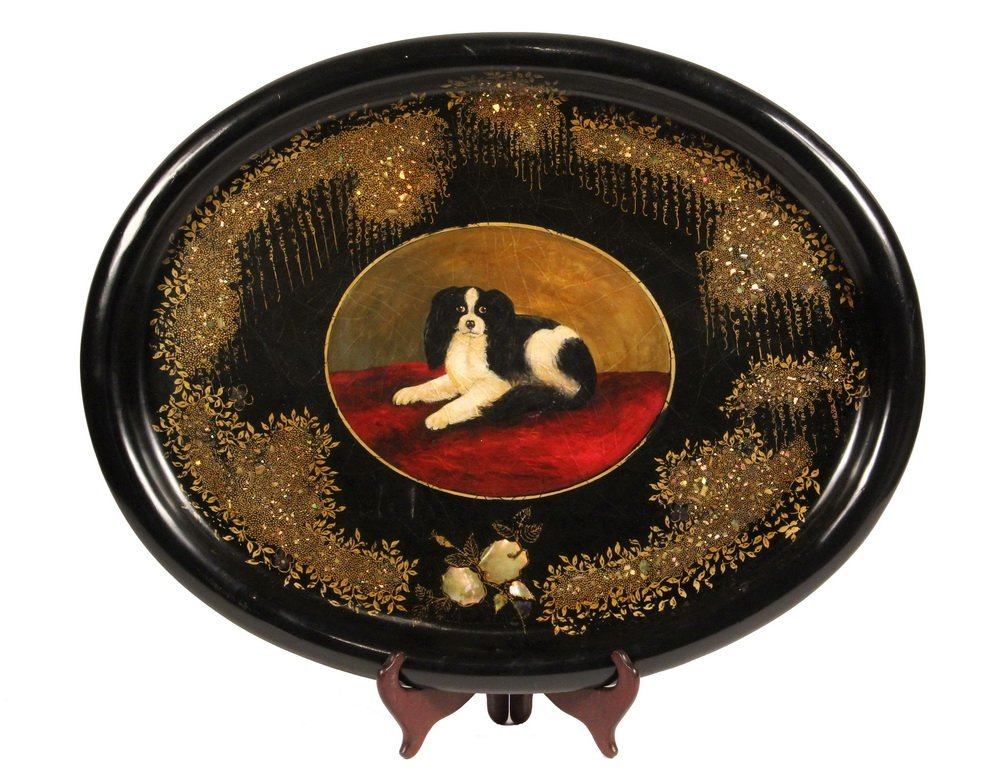 TOLE PAINTED TRAY - Large Oval Papier Mache Tray with