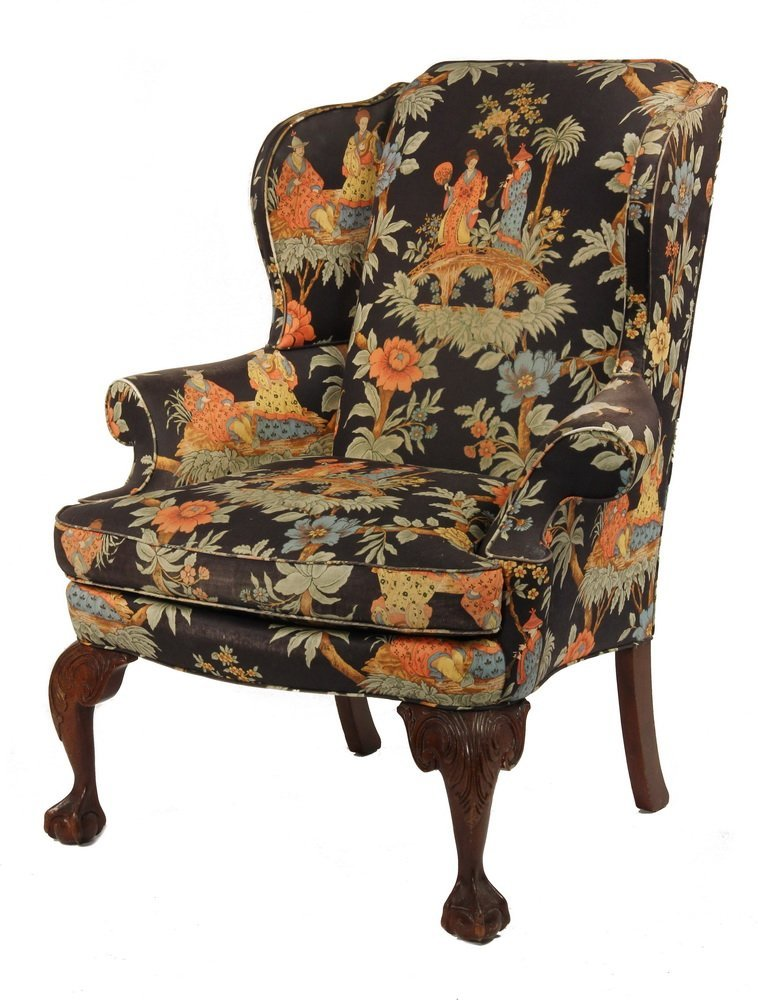 ASIAN THEMED WINGCHAIR - Contemporary Ball & Claw Foot