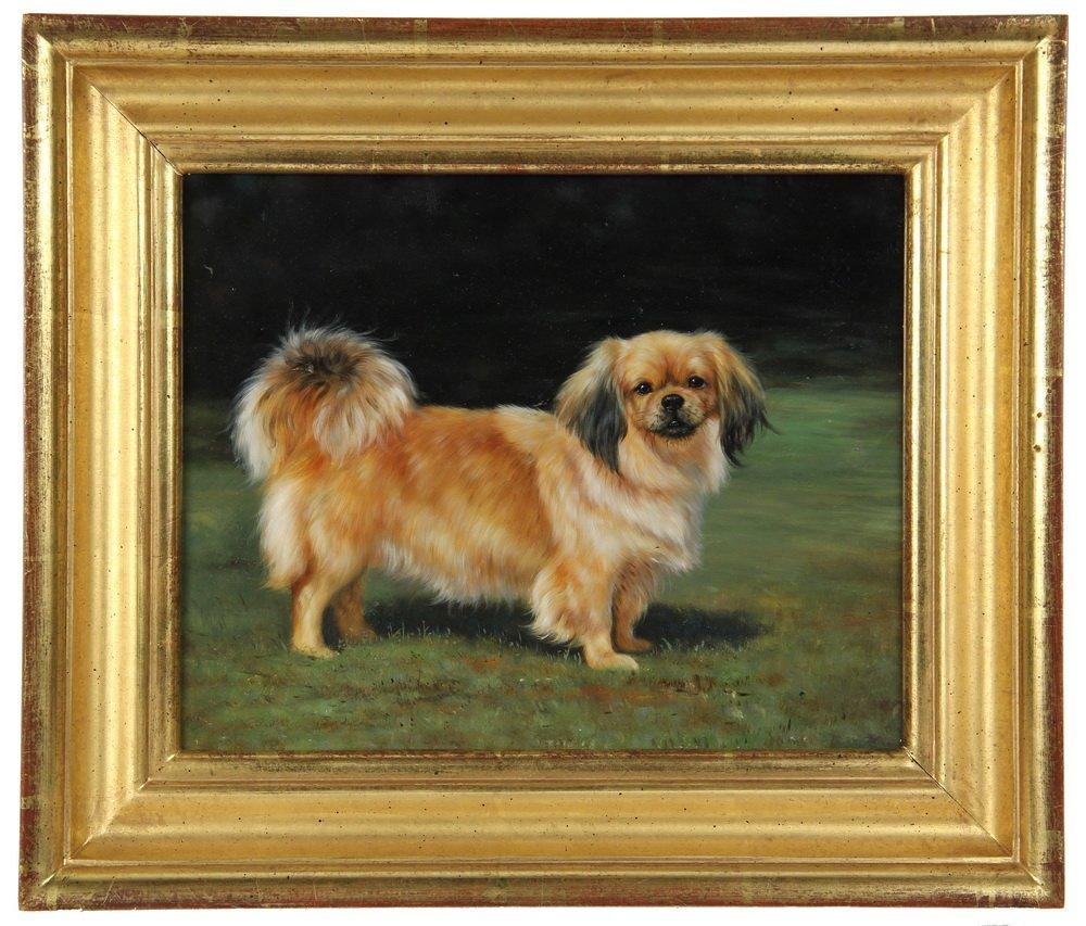 OIL ON PANEL - Full-Length Portrait of a Pekingese Dog
