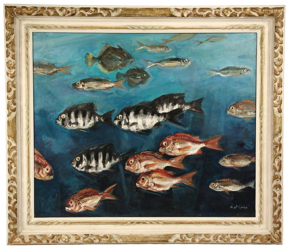 OIL ON CANVAS - Japanese School of Fish, signed lr 'N