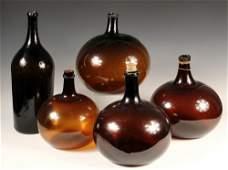 5 ANTIQUE WINE OR COGNAC CARBOYS  Large Handblown