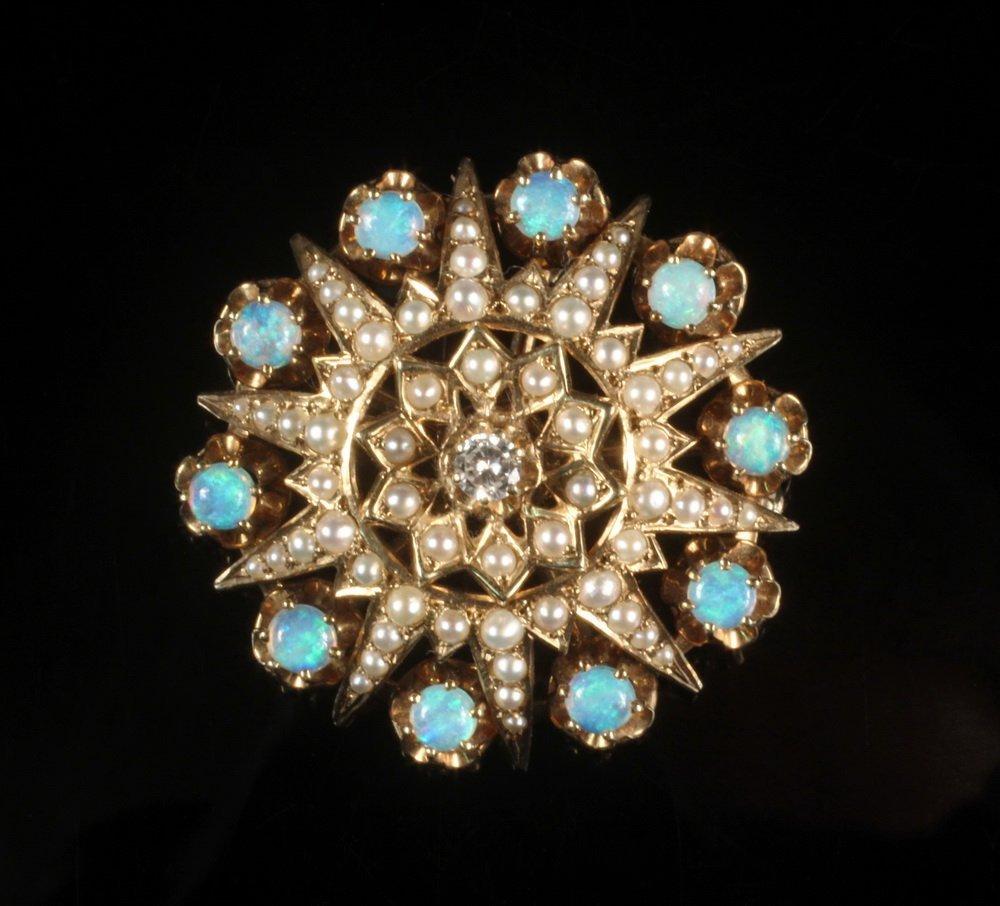 BROOCH - Antique 14K gold handmade round star form
