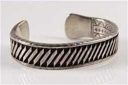 NATIVE AMERICAN BRACELET - Heavy Sterling Silver Cuff