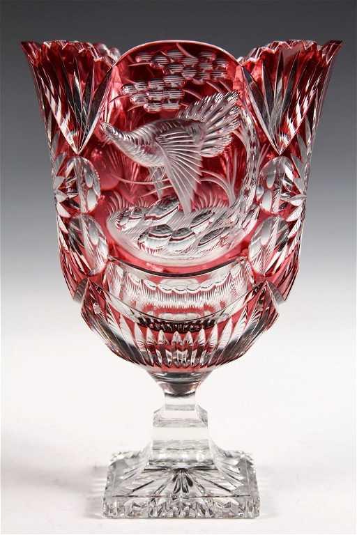 Czech Art Glass Bohemian Cranberry Cut To Clear
