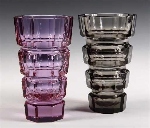 2 Moser Glass Vases Art Deco Heavy Tapered Vases