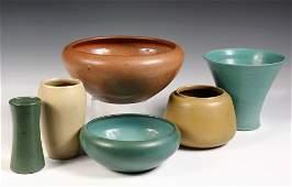 6 PCS MARBLEHEAD POTTERY  Three Bowls  Three Vases