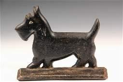 CAST IRON DOG DOORSTOP  Art Deco Flange Form Scottie