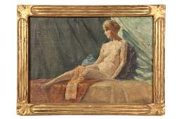OIL ON CANVAS BOARD - Study of Nude Woman on Divan,